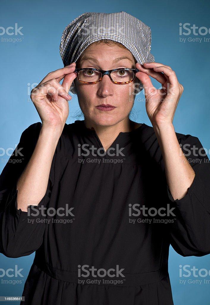 Mennonite lady stock photo