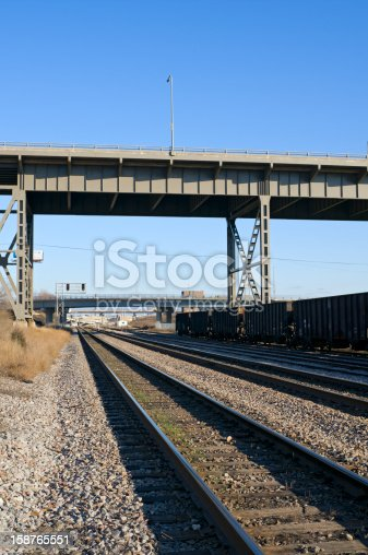 Railroad cars at 35th avenue switching yard under viaduct in Menomonee Valley of Milwaukee Wisconsin