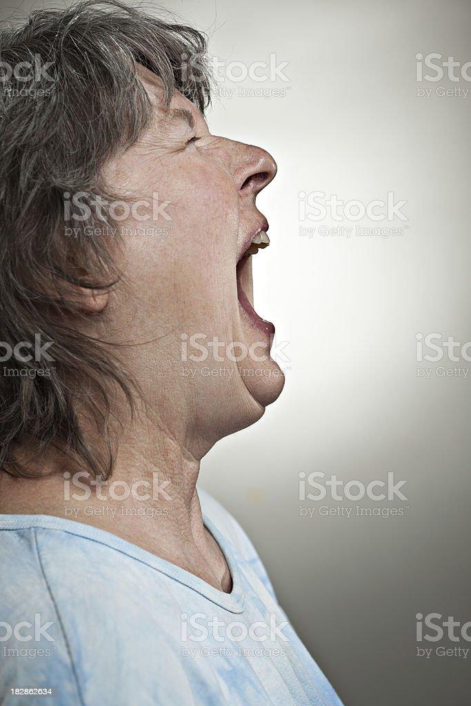 Menopausal Woman Screaming royalty-free stock photo