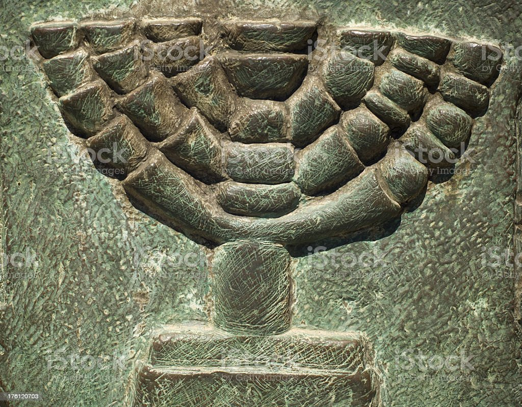 Menorah in an old tomb royalty-free stock photo