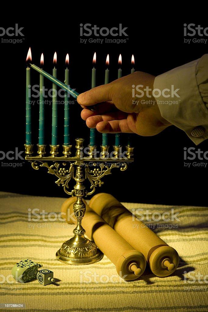Menorah lighting royalty-free stock photo