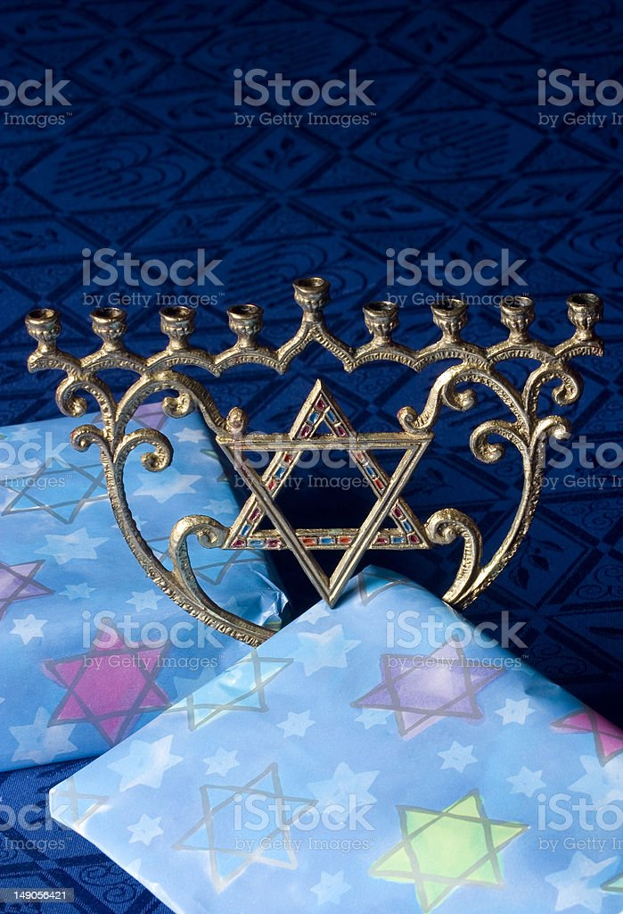 Menorah with Presents royalty-free stock photo