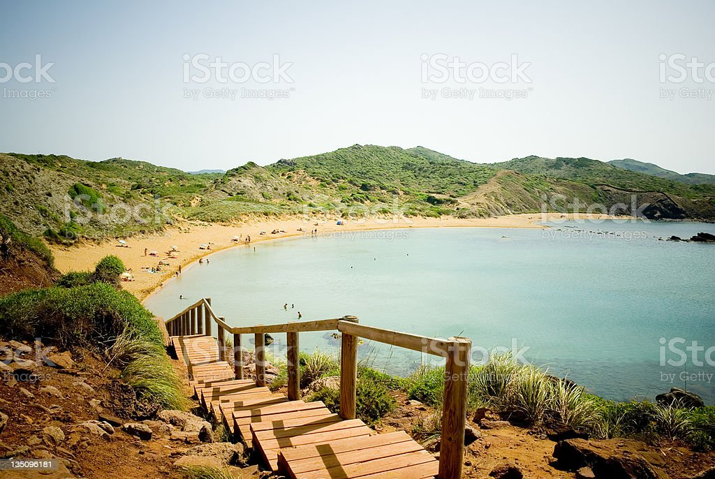 Menorca Beach entry stock photo