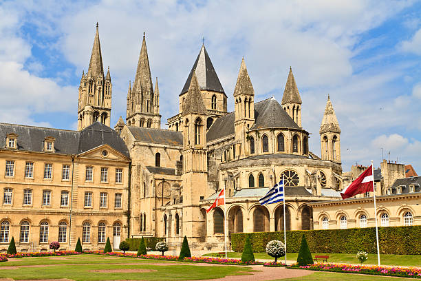 abbaye aux hommes in caen, normandy, france - caen stock pictures, royalty-free photos & images