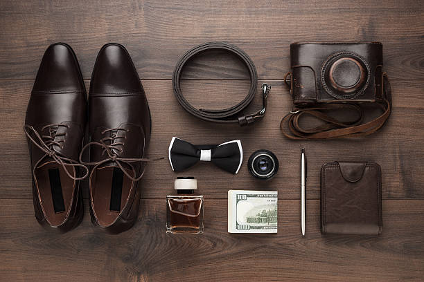 men's accessories in order on the table - Photo