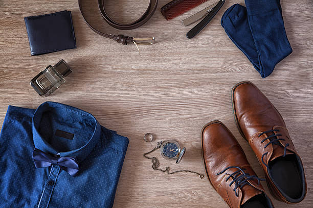 men's accessories - menswear stock photos and pictures