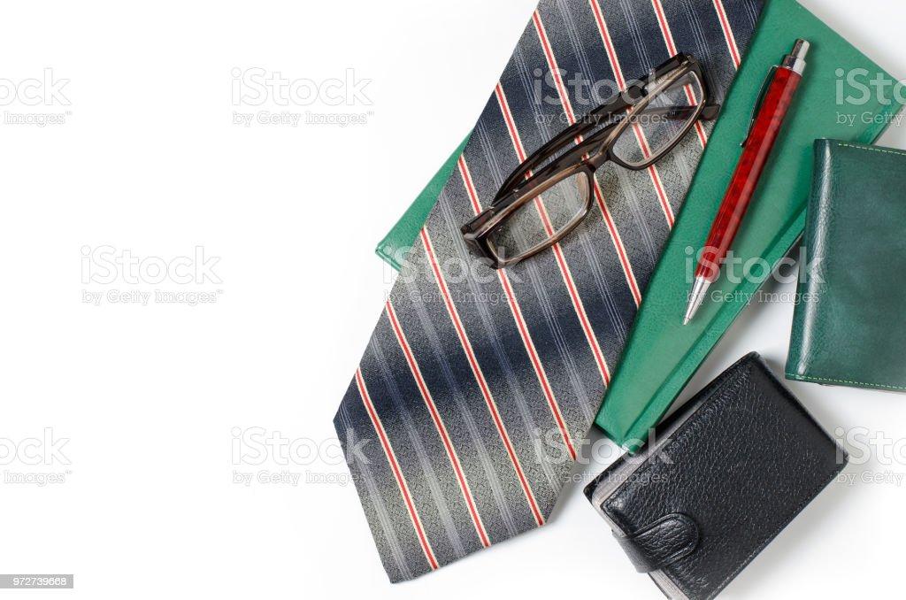 Herren Accessoires Krawatte Grün Notebook Brille Geldbörse