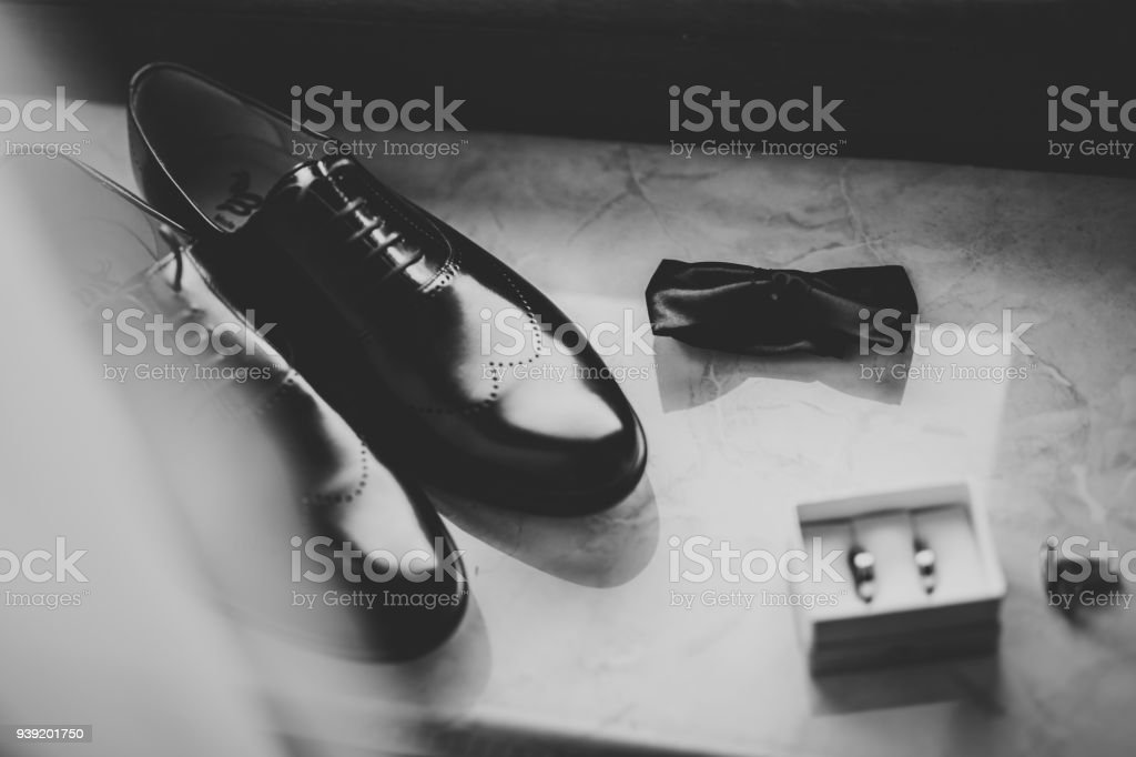 Men's accessories with luxury shoes. Top view stock photo