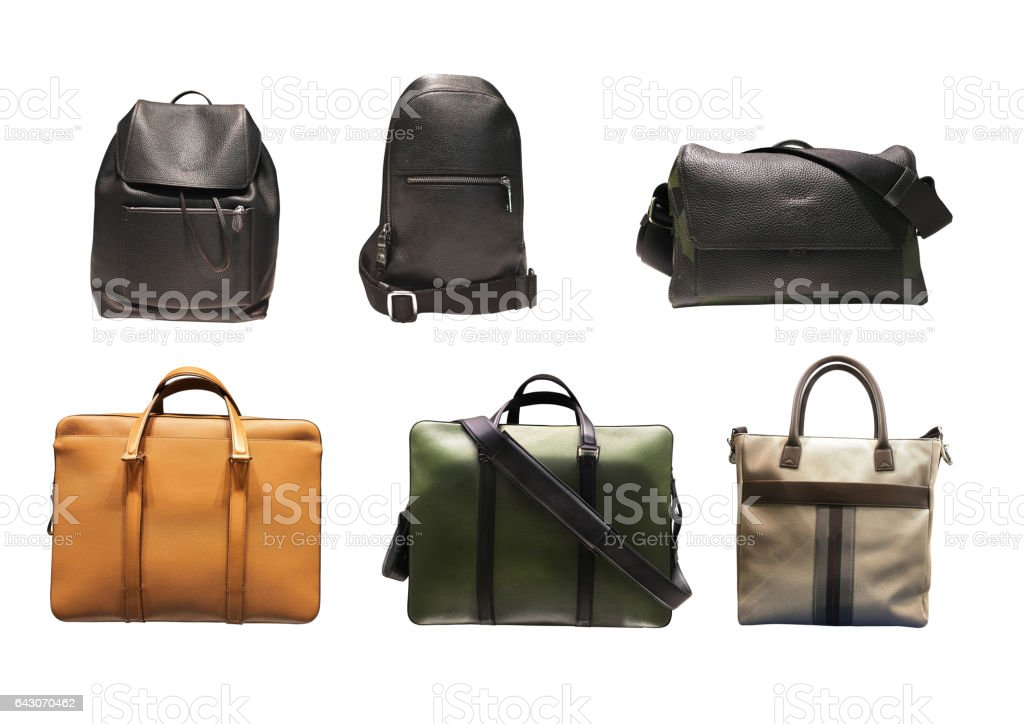 Men's Bag on white background stock photo