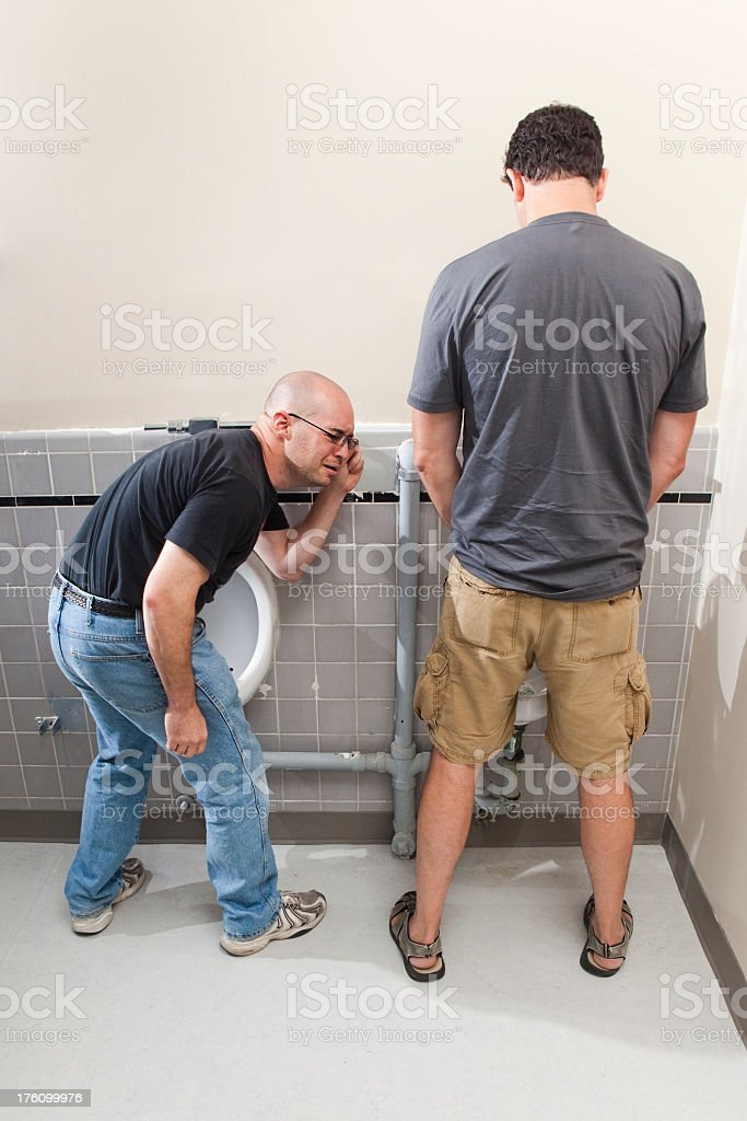 Mens Bathroom Size up stock photo