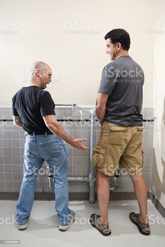 Mens Bathroom Surprise stock photo