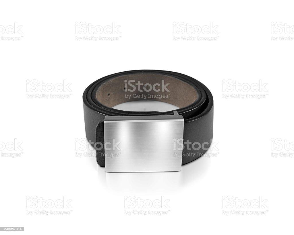Mens black belt with blank badge mockup isolated stock photo