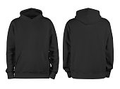 istock Men's black blank hoodie template,from two sides, natural shape on invisible mannequin, for your design mockup for print, isolated on white background 1177415728