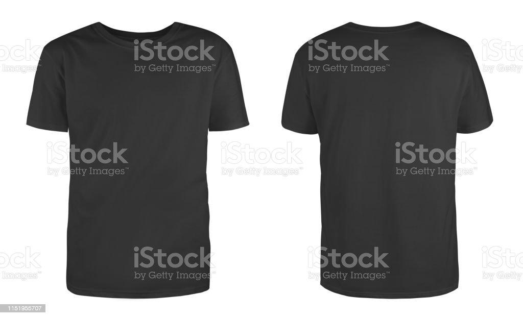 Erkek siyah boş T-shirt şablonu, iki taraftan, görünmez manken doğal şekli, baskı için tasarım mockup için, beyaz arka planda izole. - Royalty-free Arka planlar Stok görsel