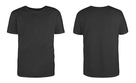 Erkek Siyah Boş Tshirt Şablonu Iki Taraftan Görünmez Manken Doğal Şekli Baskı Için Tasarım Mockup Için Beyaz Arka Planda Izole Stok Fotoğraflar & Arka planlar'nin Daha Fazla Resimleri