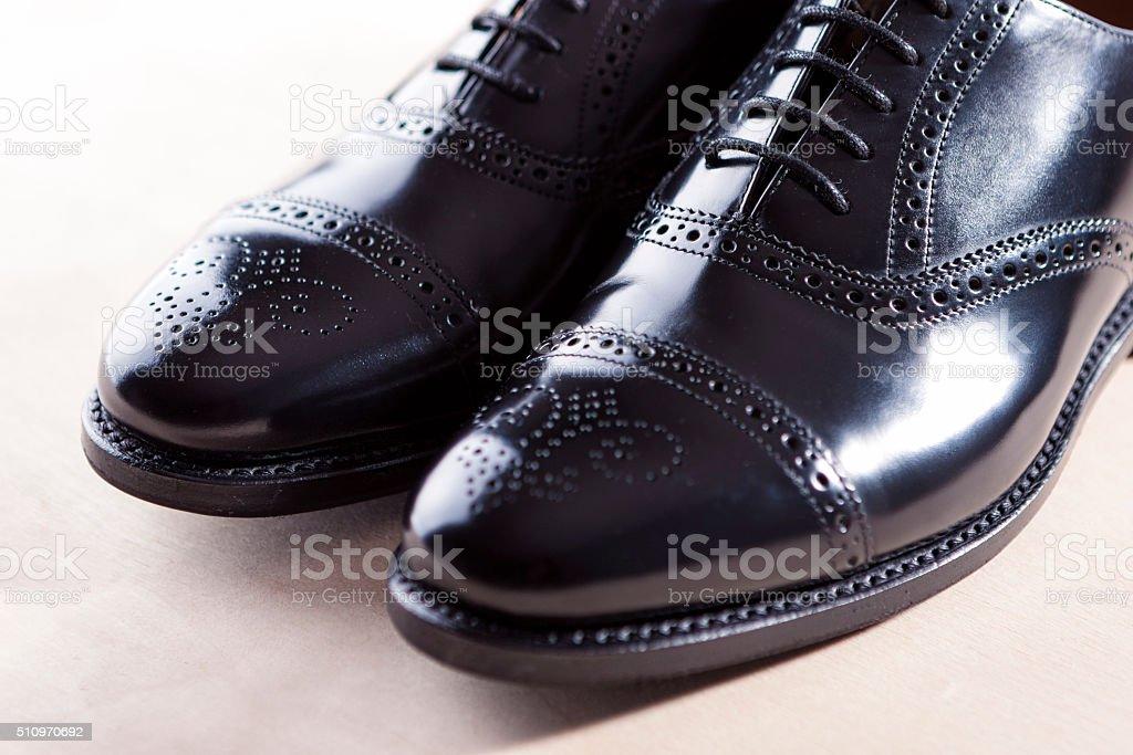 Men's Black Semi-Brogue Laced Oxfords Shoes. Diagonal Composition stock photo