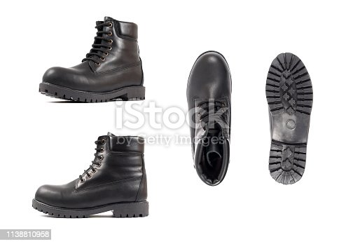 Men's black shoes, shoe isolated white background. Side view, top view and sole