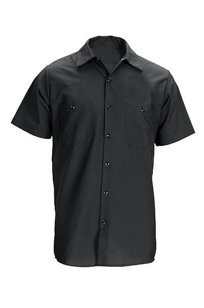 men's black, short sleeved shirt-isolated on white w/clipping path - korte mouwen stockfoto's en -beelden
