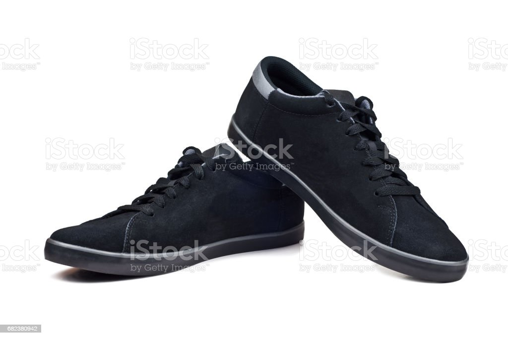 Men's black sport shoes isolated on white background royalty free stockfoto
