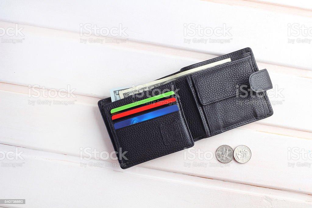 men\'s black wallet money in cash