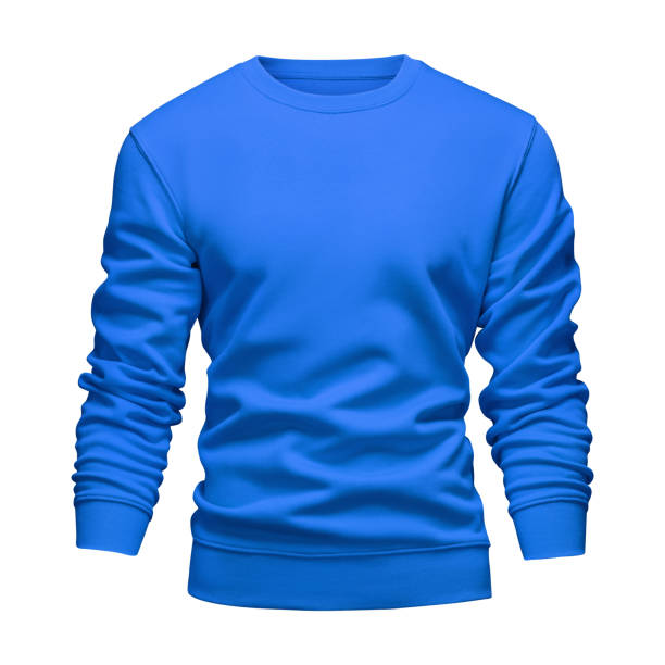 Men's blank mockup blue sweatshirt wavy concept with long sleeves isolated white background. Front view empty template pullover with clipping path. Blank design warm winter clothes sweater for print Men's blank mockup blue sweatshirt wavy concept with long sleeves isolated white background. Front view empty template pullover with clipping path. Blank design warm winter clothes sweater for print. sweater stock pictures, royalty-free photos & images