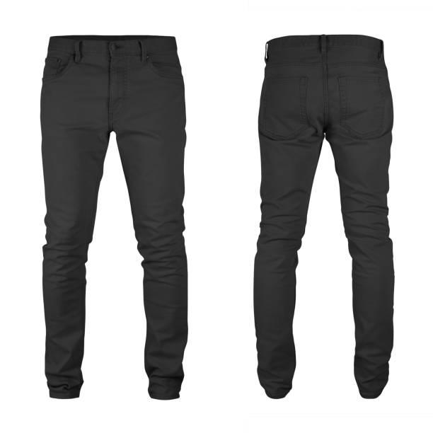 mannen blank skinny black jeans sjabloon, van twee kanten, natuurlijke vorm op onzichtbare mannequin, voor uw ontwerp mockup voor afdrukken, geïsoleerd op witte achtergrond. - zwarte spijkerbroek stockfoto's en -beelden