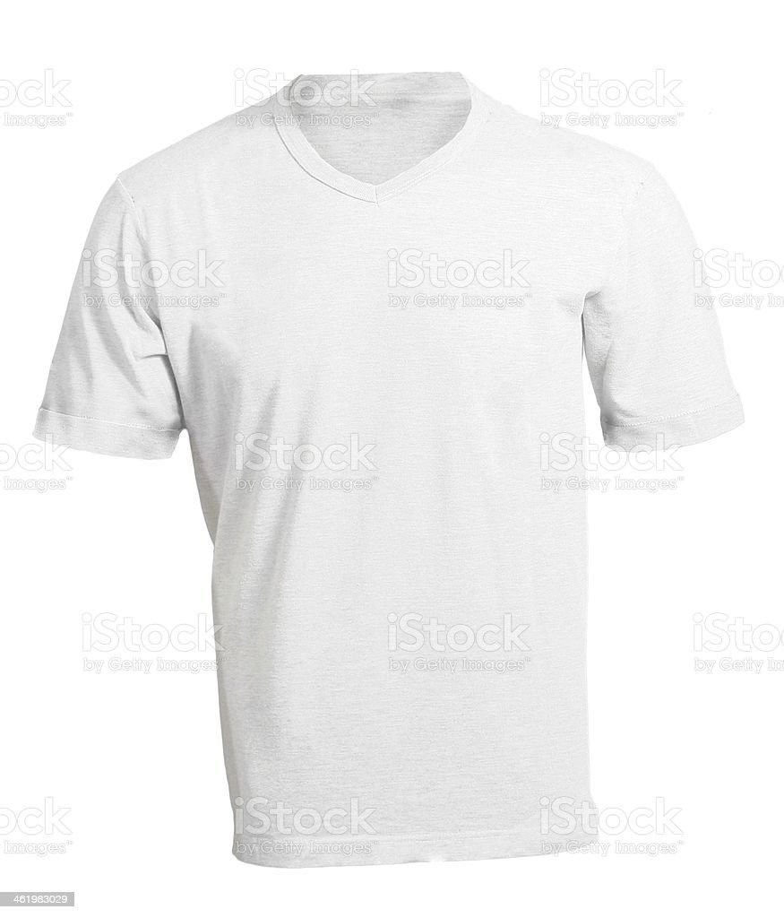 Mens Leere Weiße Vorlage Tshirt Mit Vausschnitt - Stockfoto   iStock