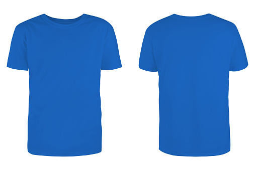 Men's  blue blank T-shirt template,from two sides, natural shape on invisible mannequin, for your design mockup for print, isolated on white background.