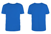istock Men's  blue blank T-shirt template,from two sides, natural shape on invisible mannequin, for your design mockup for print, isolated on white background. 1282929531