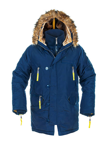 men's blue down lined winter parka - 冬天大衣 個照片及圖片檔