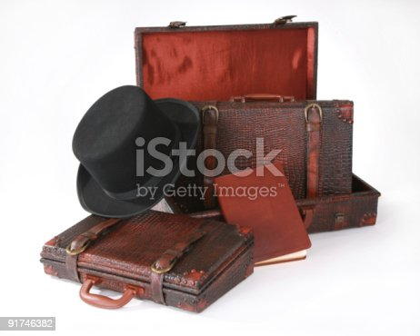 istock Men's briefcase with top hat & journal 91746382