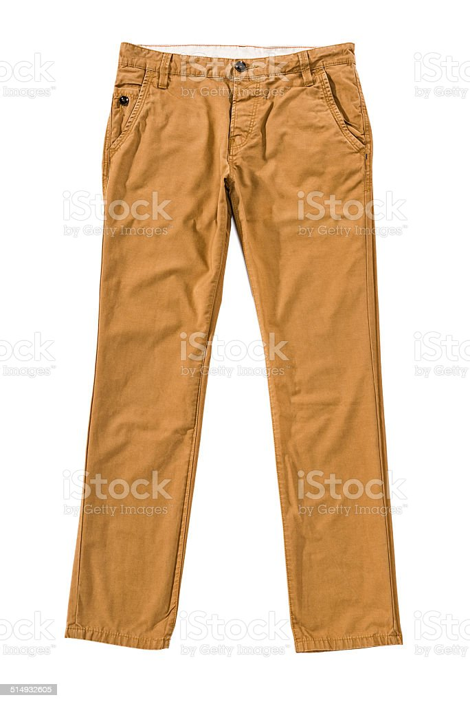 Men's brown chino trousers isolated on white background stock photo