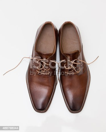 Mens brown leather shoes isolated