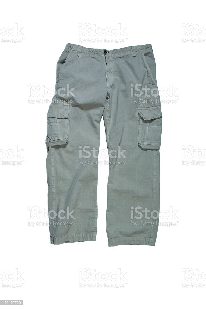 Men's Cargo Pants - Stone Colored on White Background stock photo