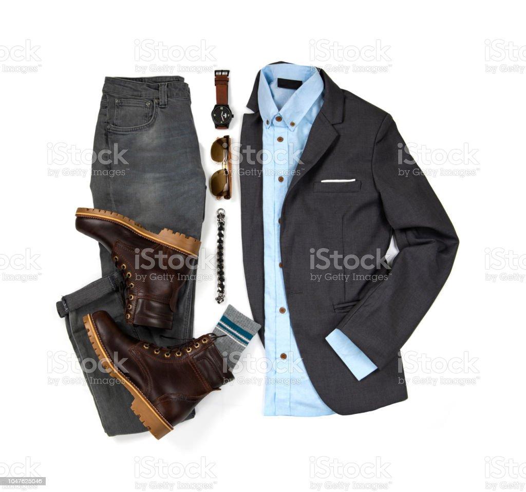 Herren Casualoutfits Für Mann Kleidung Mit Braune Stiefel Socken