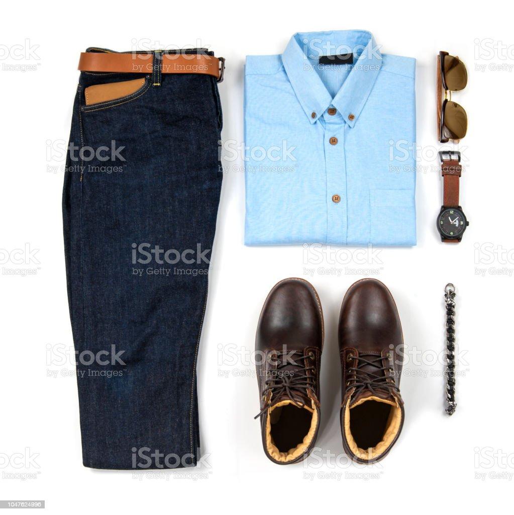 12e09e61f Trajes casuales de hombres para hombre ropa con boot marrón, reloj, azul  jeans,