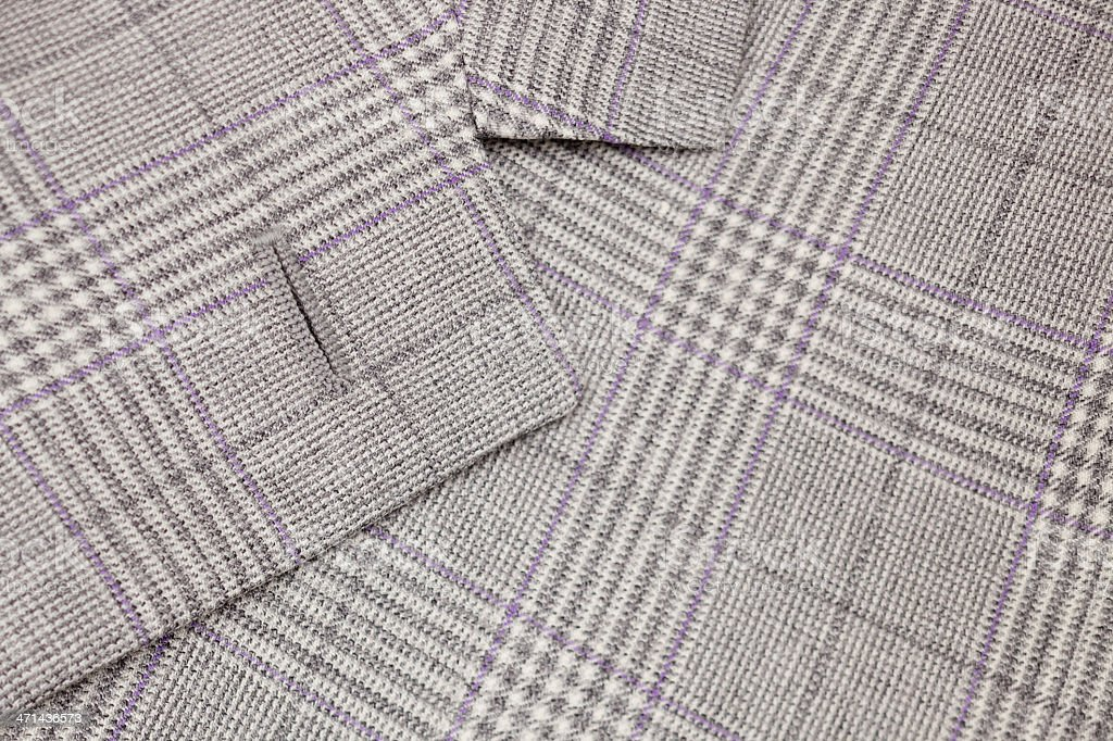 Mens checked grey wool suit detail stock photo