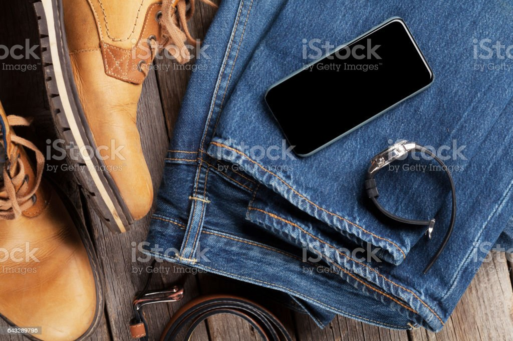 Men's clothes and accessories stock photo