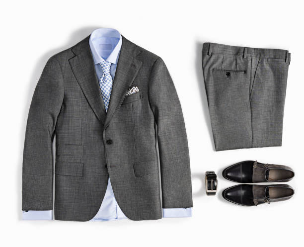 men's clothes isolated on white background - jacket stock photos and pictures
