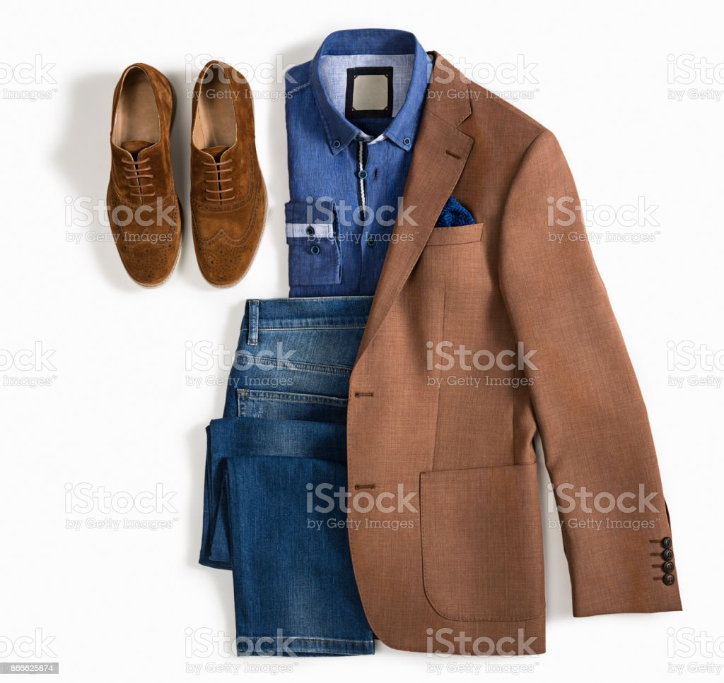 Men's clothes isolated on white background stock photo