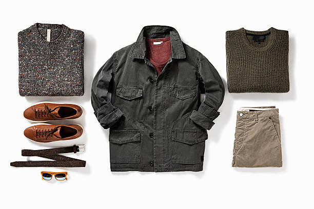 men's clothes men's clothes isolated on white background( with clipping path) coat garment stock pictures, royalty-free photos & images