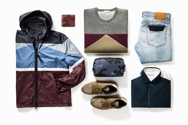 men's clothing and personal accessories isolated on white background - mens fashion stock photos and pictures