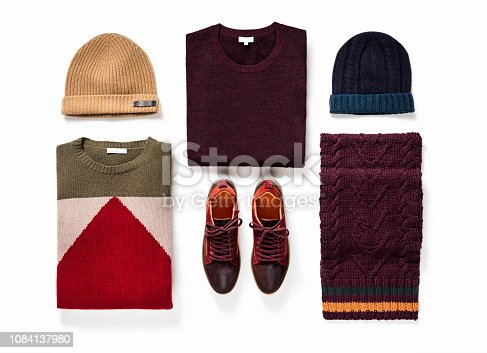 istock Men's clothing and personal accessories isolated on white background 1084137980