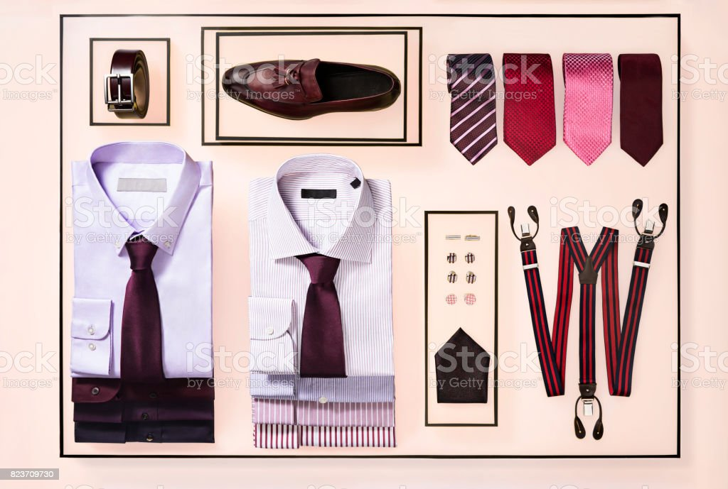 Men's clothing and personal accessories isolated on background