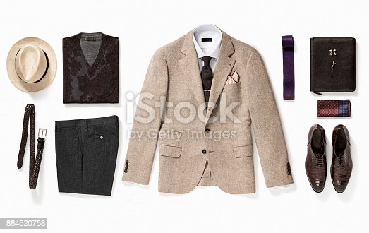 Men's clothing and personal accessories isolated on white background (with clipping path)