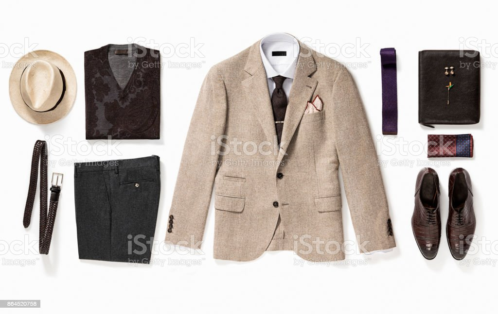 Men's clothing and personal accessories stock photo