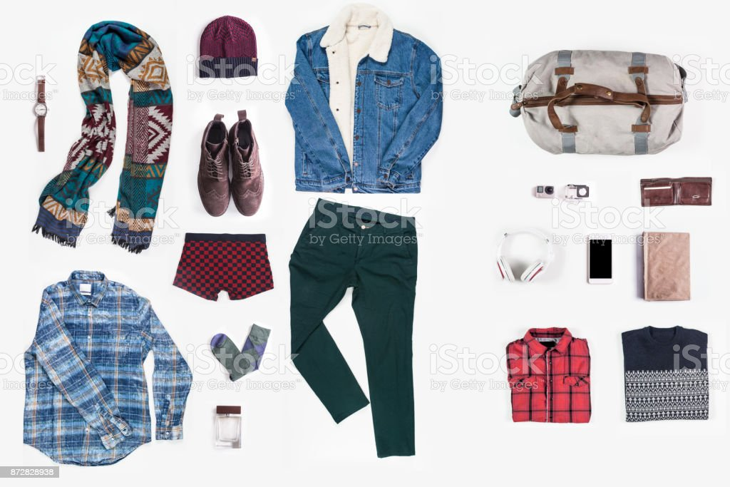 Men's clothing and personal accessories royalty-free stock photo
