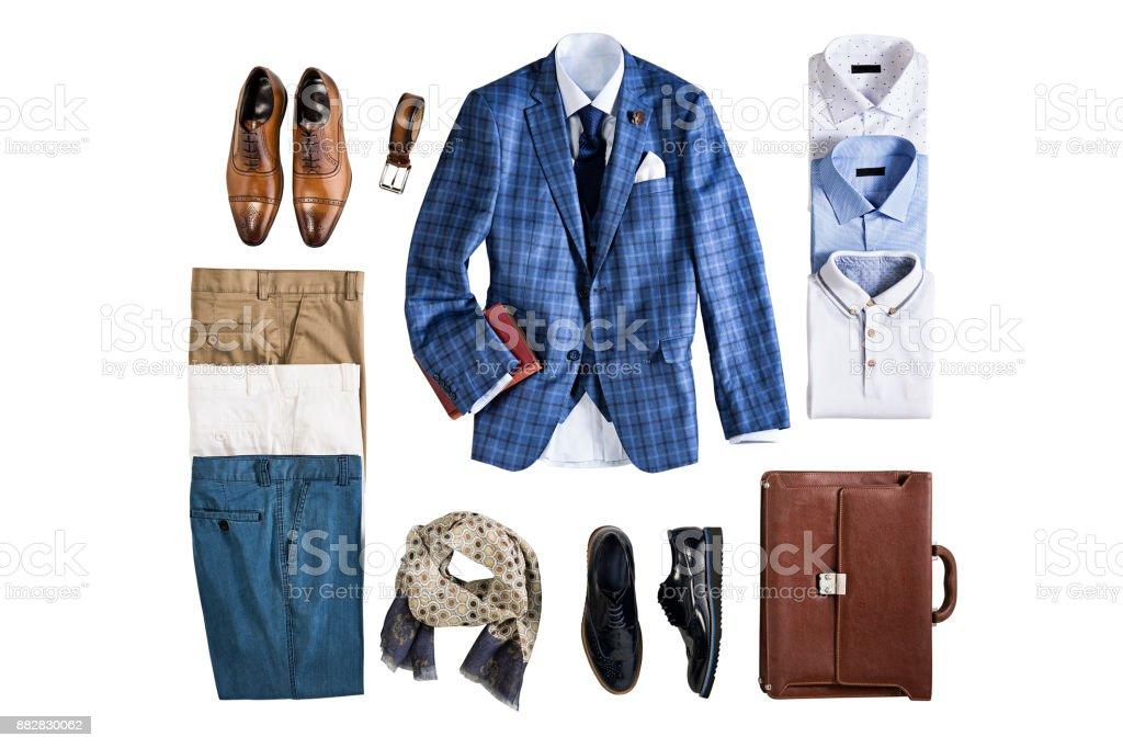 Men's clothing isolated on white background stock photo