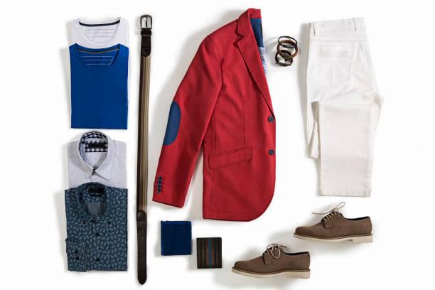 roupas masculinas, isolada no fundo branco - calça comprida - fotografias e filmes do acervo