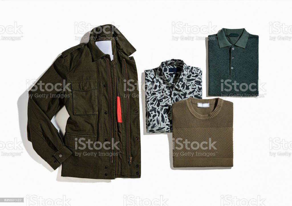 Men's clothing isolated on white background stock photo